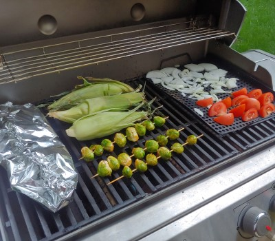 grilling tomatoes onions - perforated griddle