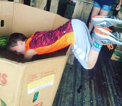 kids dives into box of watermelons